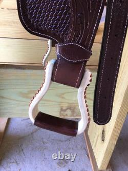 12 Leather Western Youth Saddle with Full Tooling Mini Miniature Horse Pony