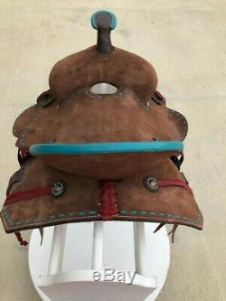 12 New Western Leather Youth Child Horse Pony Ranch Buck Stiched Saddle