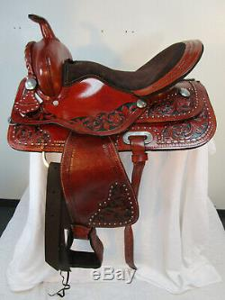 15 16 17 Trail Saddle Used Western Pleasure Horse Tack Floral Tooled Leather Set