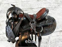 15 16 17 Used Trail Saddle Western Horse Pleasure Floral Tooled Leather Tack Set