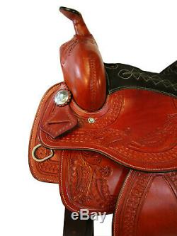 15 16 Barrel Racing Pleasure Show Tooled Brown Leather Western Horse Saddle Tack