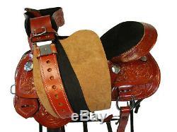 15 16 Tooled Leather Gaited Horse Trail Pleasure Western Saddle Barrel Tack Set