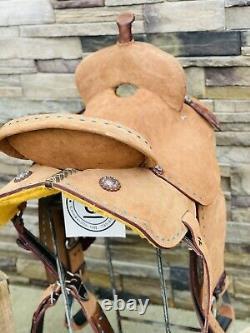 15 Royal King Barrel Saddle- Western Saddle, Deep Seat, Teal Buckstitch
