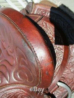 15'' Vintage Big W Western Saddlery Ranch Trail Tooled Western Saddle Sqh Bars