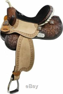 15 Western Horse Saddle With Barrel Racer Conchos Full Qh Bars Med Oil 6556