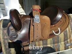 16'' #122 brown Big horn Leather & Cordura western trail endurance saddle FQHB