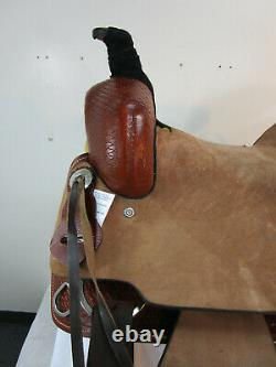 16 17 Ranch Horse Roping Roper Used Western Tooled Leather Saddle Trail Tack Set