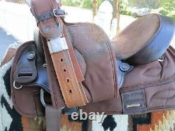 16'' #268 Big horn Leather/Cordura western barrel trail saddle HI CANTLE QH BARS