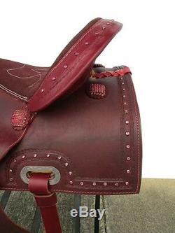 16 Barrel Racing Trail Pleasure Mahogany Rough Out Leather Western Horse Saddle
