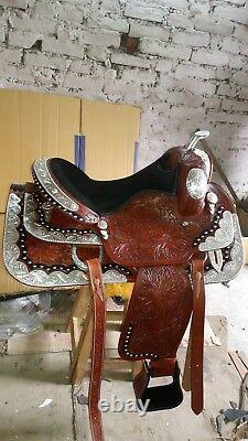 16'' Western Saddle Fully Tooled Show Saddle with Silver Corner & Canchos