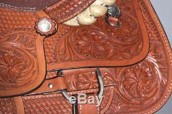 16 in Western Horse Saddle Leather Ranch Roping Cowboy Hilason U-0-16