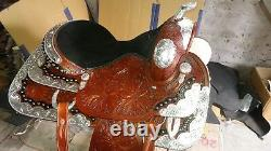 17'' Western Saddle Fully Tooled Show Saddle with Silver Corner & Canchos