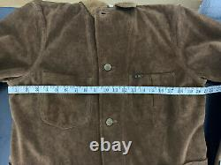 $2200 RRL Ralph Lauren Small Suede Chore Coat Brown Leather Jacket Western Rodeo
