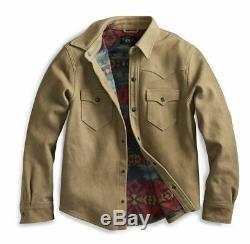 $2200 RRL Ralph Lauren Tan Waxed Sheepskin Western Leather Jacket Men's M Medium