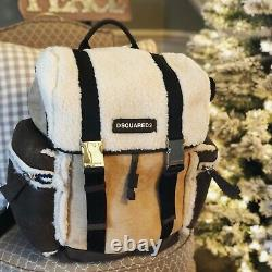$2500 Dsquared2 Shearling Fur Indian Suede Leather Backpack Italy Beige Brown