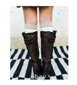 $325 Freebird Clive Brown Leather Knee High Boot 8 Steven Drover Western Cowgirl