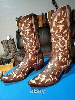 $360 Lucchese Charlie 1 Horse Cowgirl Boots Floral Inlay/Overlay 9B US Womens Sz