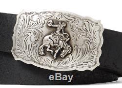 $495 Ralph Lauren Mens Italy Bronco Buckle Leather Black Western Buckle Belt New