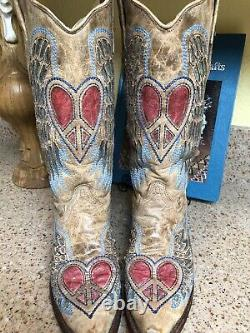 7.5 Corral 1976 Antique Saddle Blue Jean Wing Heart Womens Western Cowboy Boots