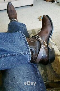 AWESOME Men's Brown Leather Lucchese Cowboy BOOTS with Boot Chains 11 BOOT Man