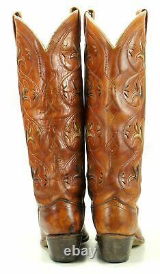 Acme Women's Vintage Knee High Tall Flower Inlay Cowboy Boots Boho Festival 6.5
