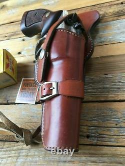 Alfonso's Brown Leather Suede Lined Western Holster for 6 K Frame Revolver