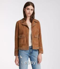 All Saints Women's Tan Brown Evans Leather Biker Jacket Coat S & M New Tags