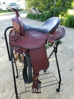 Amish Craftmanship Ed Steele Flex Tree Trail Western Saddle Seat Size 16