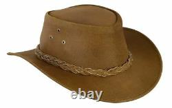 Australian Western Cowboy Style Hat Tan Brown Bush Hat Leather Outback Hat