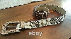 BB Simon Custom Made Western Rhinestone Womens Ladies Belt Cowhide MSRP $525 NEW
