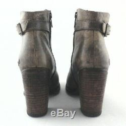 BED STU Ankle Boots ISLA Chunky Heels Sand Rustic Leather Womens US 7.5/38 $255
