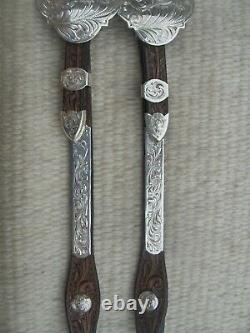 BILLY ROYAL WESTERN SILVER SHOW Headstall TOOLED LEATHER