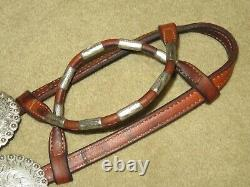 BROKEN HORN Sterling Silver Western Show Headstall Bridle with UNIQUE BIT CLIPS