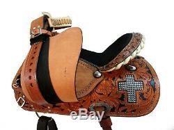 Barrel Racing Deep Seat Western Horse Pleasure Trail Tooled Leather Saddle 15 16