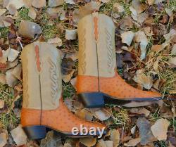 Black Jack Peanut Brittle Genuine Full Quill Ostrich Western Cowboy Boots 12D
