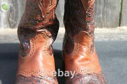 Boulet Women's Hand Tooled Leather Cowboy Boot Square Toe 1062 Size 8.5/9
