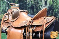 C-3-16 16 Western Horse Saddle Leather Wade Ranch Roping Tan Hilason