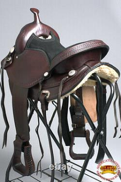 C-Z-16 15 In 16 In 17 In Western Horse Saddle Leather Treeless Trail Hilason