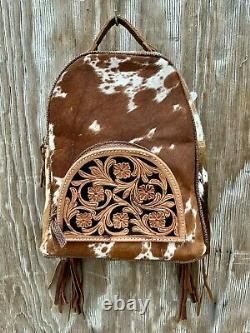 CCW Western BACKPACK Leather Cowhide Bag Rodeo Purse FRINGE Conceal Carry Gun 16