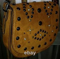 COACH 56621 Suede Leather Western Rivet Saddle 23 Bag Crossbody Ginger $595 NEW