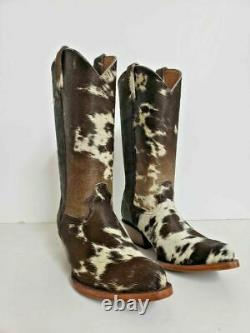 Calf hair leather boots white and black OR brown spots made to order. Any size