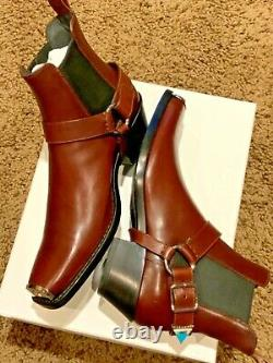 Calvin Klein 205w39nyc Western Harness Leather Boots Shoes Us10/eu43 Italy