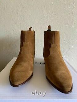 Celine Tan Suede Western Boots Hedi Slimane Saint Laurent Sz 43.5 US 10.5