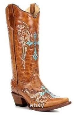 Circle G by Corral Ladies Cowboy Western Boots Cognac/Turquoise Cross L5104