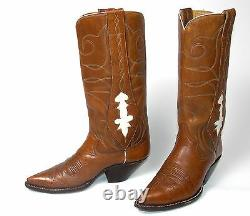 Classic Vintage Tall Brown Cowboy Boots Mule Ears Mn's Sz 8-1/2D Stovepipe Top
