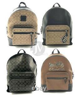 Coach Mens West Leather Signature Canvas Large Backpack Bookbag Bag
