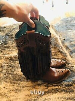 Corral Brown Fringe Boots Women 8.5