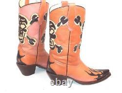 Corral Cowboy Boots Womens 8B Inlay Cutout Skull Pink Brown Good Condition