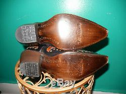 Corral G1072 Black Cognac Brown Laser Studs Tall Inlay Western Cowboy Boots 9