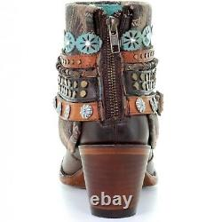 Corral Ladies Brown Studded & Woven Harness Ankle Boots E1387